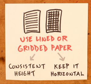 How To Improve Your Handwriting - Sketchnote School - Verbal To Visual - Doug Neill - lined gridded paper