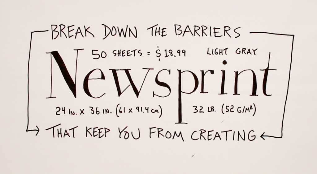 Break down the barriers that keep you from creating - Verbal to visual - doug neill - sketchnotes, newsprint, visual note-taking, doodling, paper, thin