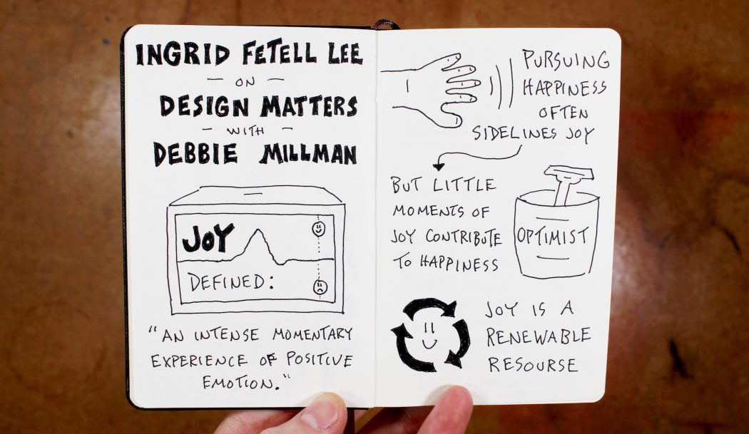 Ingrid Fetell Lee on Joy (1) - Design Matters with Debbie Millman; joy as renewable resource, happiness vs joy, positive emotion - Doug Neill Sketchnotes