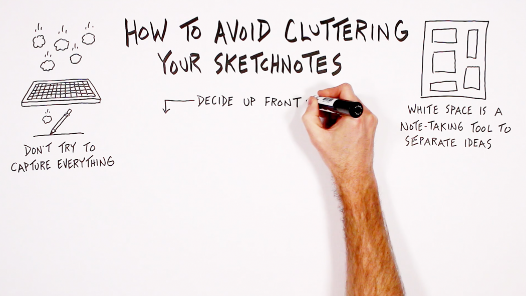 How To Avoid Cluttering Your Sketchnotes - Verbal To Visual - visual note-taking, sketchnoting, Doug Neill